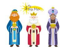 Three Magic Kings isolated on white. Three Kings of Orient in Spanish. Character design isolated on white background. Vector illustration royalty free illustration