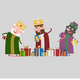 Three Magic Kings  with many gifts. 3D Stock Images