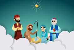 Three magic kings of orient bringing presents to Christ crafted paper cut vector illustration