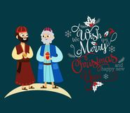 Three magic kings of orient cartoon characters. Wise men bringing gifts to Christ vector illustration. Biblical magi Caspar Melchior Balthazar. Merry Christmas stock illustration