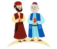 Three magic kings of orient cartoon characters. Wise men bringing gifts to Christ vector illustration. Biblical magi Caspar Melchior Balthazar. Merry Christmas royalty free illustration