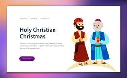 Three magic kings of orient cartoon characters. Wise men bringing gifts to Christ vector illustration. Biblical magi Caspar Melchior Balthazar. Merry Christmas vector illustration