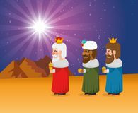 The three magic kings of orient cartoons. The three magic kings of orient wise men vector illustration graphic design Royalty Free Stock Image