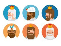 The three magic kings of orient cartoons. The three magic kings of orient wise men vector illustration graphic design Royalty Free Stock Photo