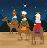 The three magic kings of orient cartoons. The three magic kings of orient wise men vector illustration graphic design Royalty Free Stock Images