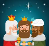 The three magic kings of orient cartoons. The three magic kings of orient wise men vector illustration graphic design Stock Photography