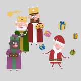 Three magic kings playing with Santa Claus. 3D Royalty Free Stock Photography