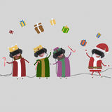 Three magic kings playing with Santa. 3D Royalty Free Stock Image