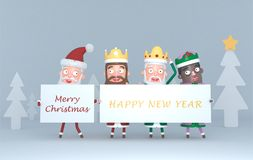Three Magic Kings and Santa Claus holding a placard with Greetings.3d illustration. royalty free stock photography