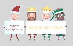 Three Magic Kings and Santa Claus holding a placard with Greetings. Isolated.3d illustration. royalty free stock photos