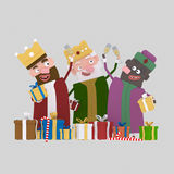 Three magic kings toasting.3D Royalty Free Stock Image