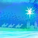 Three magic scene and shining star of Bethlehem Royalty Free Stock Photo