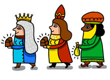 Three magical queens. Parodic, feminist of magical kings Stock Photography