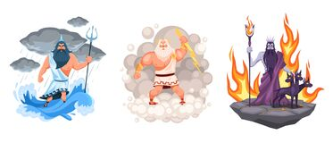 Free Three Main Greek Gods. Cartoon Zeus, Poseidon And Hades Elements Surrounded, Waves, Clouds And Fire Environment, Ancient Stock Photography - 208498292