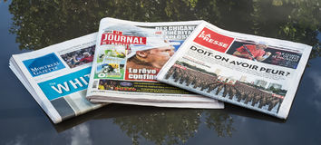 The Three Main Newspapers of Montreal Stock Images