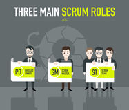 Three main scum roles. On grey background Royalty Free Stock Photo