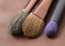 Three makeup brushes Royalty Free Stock Images