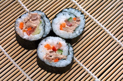 Three Makizushi sushi fresh maki roll Royalty Free Stock Images