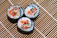 Three Makizushi sushi fresh maki roll Royalty Free Stock Images