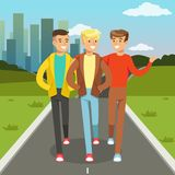 Three male friends talking and smiling while walking on city street, friendship concept vector Illustration. Web banner royalty free illustration
