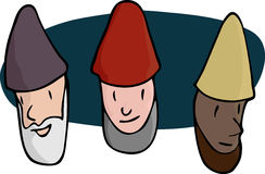 Three Male Gnomes. Portraits of three bearded gnomes, wizards or religious men in various skin colors Stock Images