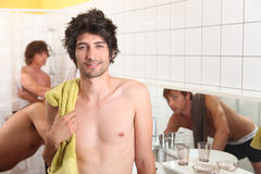 Three male house mates Stock Photography