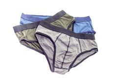Three male underpants. Three, new, casual men`s underpants on white background close-up Stock Images
