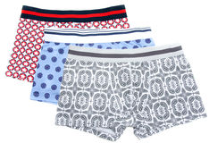 Three male undershorts. With pattern on white background Royalty Free Stock Photo