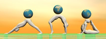 Yoga and earth - 3D render Royalty Free Stock Photography