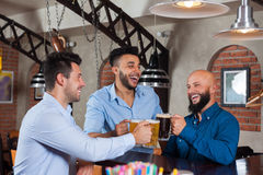 Three Man In Bar Clink Glasses Toasting, Drinking Beer Hold Mugs, Mix Race Cheerful Friends Wear Shirts Stock Photography