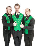 Three Man in costume for irish dance showing thumbs up Royalty Free Stock Photography