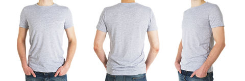 Three man in gray t-shirt Royalty Free Stock Photography
