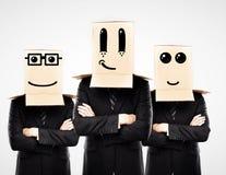 Three man with happy box Royalty Free Stock Photo