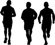 Three man running. Vector image of three man running Stock Photo