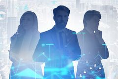 Three managers in city, social network royalty free stock images