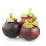 Three Mangosteen Royalty Free Stock Images