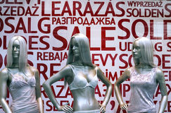 Three mannequins in lingerie Royalty Free Stock Photos
