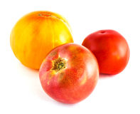 Three many-coloured tomatoes Stock Images