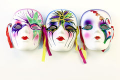 Three Mardi gras masks Stock Images