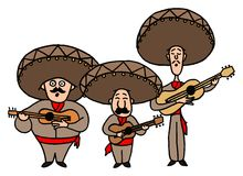 Three Mariachi With Guitars Vector Stock Images