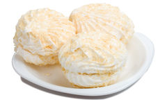 Three marshmallow on plate Stock Photography