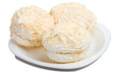 Three marshmallow on plate Stock Photography