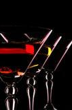 Three Martini Glasses At The Black Background. Stock Photos