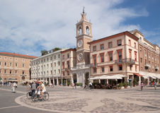 Three Martyrs square in Rimini stock images