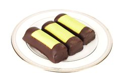 Three Marzipan chocolate bars on the plate Stock Photo
