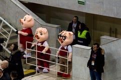 Three mascot pigs Stock Images