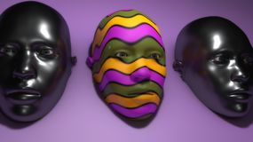 Three masks and colors. 3d render. Three masks and colors vector illustration