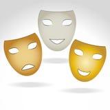 Three masks. Vector illustration in three masks expressing a smile , sadness and joy Royalty Free Stock Photos