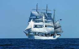 Three Mast Schooner. On open seas Stock Images
