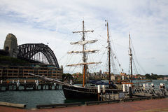 A three mast ship near Sidney Bridge Stock Photo